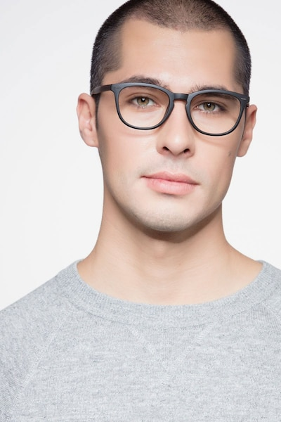Yolo Black/Brown Plastic Eyeglass Frames for Men from EyeBuyDirect, Front View