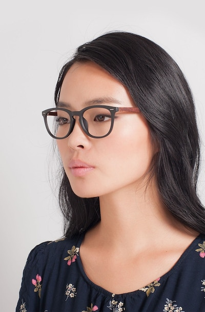 Yolo Black/Brown Plastic Eyeglass Frames for Women from EyeBuyDirect