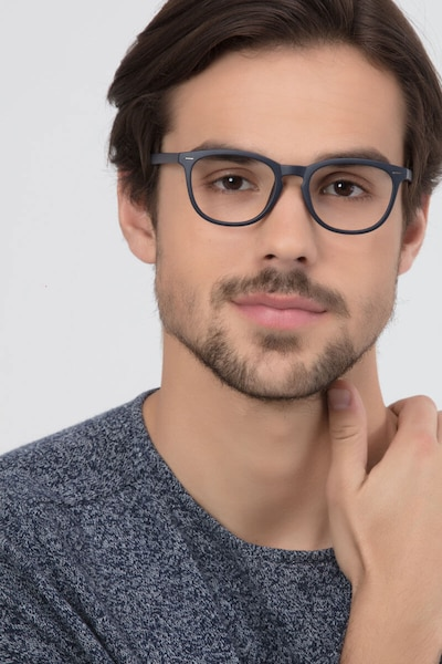 Yolo Matte Navy Plastic Eyeglass Frames for Men from EyeBuyDirect, Front View