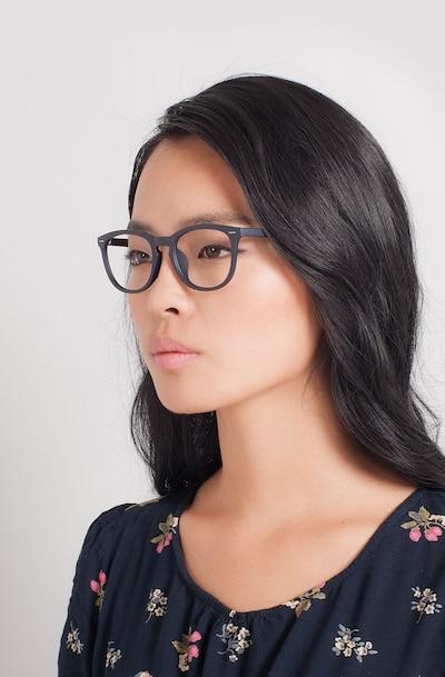 Yolo Matte Navy Plastic Eyeglass Frames for Women from EyeBuyDirect