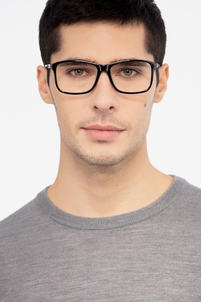 Pablo Black Plastic Eyeglass Frames for Men from EyeBuyDirect, Front View