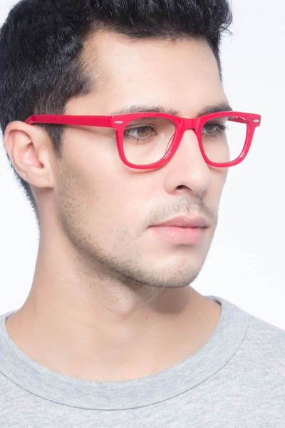 Blizzard Raspberry Acetate Eyeglass Frames for Men from EyeBuyDirect, Front View