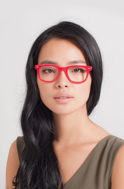 Blizzard Raspberry Acetate Eyeglass Frames for Women from EyeBuyDirect, Front View