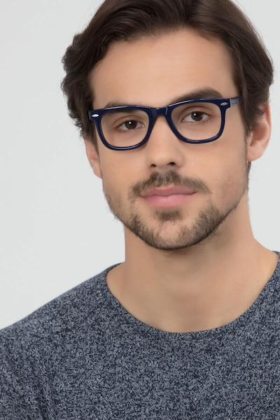 Blizzard Navy Acetate Eyeglass Frames for Men from EyeBuyDirect, Front View