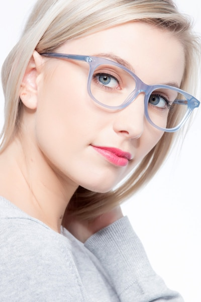 Brittany Clear/Blue Acetate Eyeglass Frames for Women from EyeBuyDirect, Front View