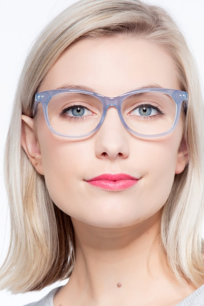 Brittany Clear/Blue Acetate Eyeglass Frames for Women from EyeBuyDirect