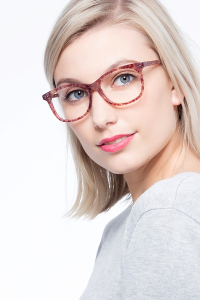 Brittany Brown/Floral Acetate Eyeglass Frames for Women from EyeBuyDirect, Front View