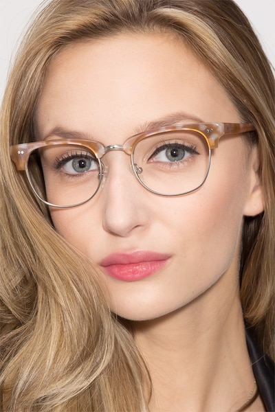 Concorde Brown/Silver Acetate Eyeglass Frames for Women from EyeBuyDirect