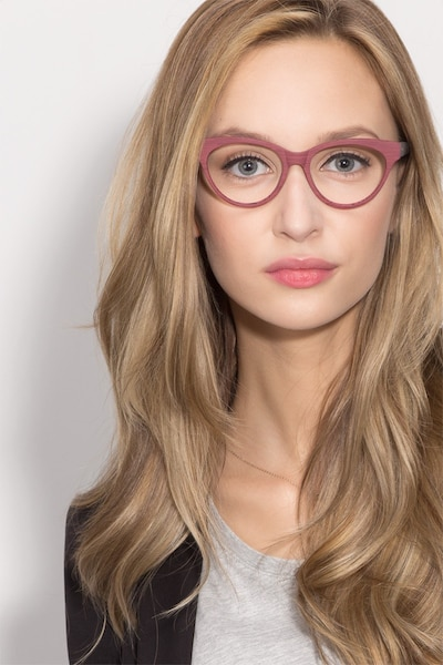 Jane Birkin Berry Red Wood-texture Eyeglass Frames for Women from EyeBuyDirect, Front View