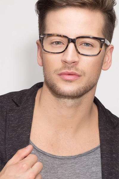 John Tortoise Acetate Eyeglass Frames for Men from EyeBuyDirect, Front View
