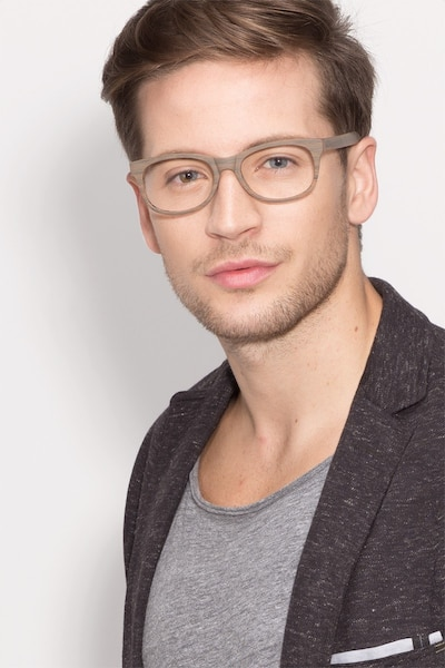 Panama Brown/Striped Acetate Eyeglass Frames for Men from EyeBuyDirect, Front View