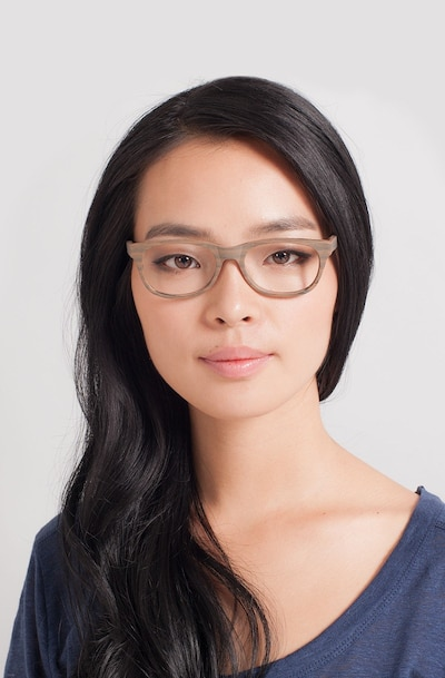 Panama Brown/Striped Acetate Eyeglass Frames for Women from EyeBuyDirect, Front View