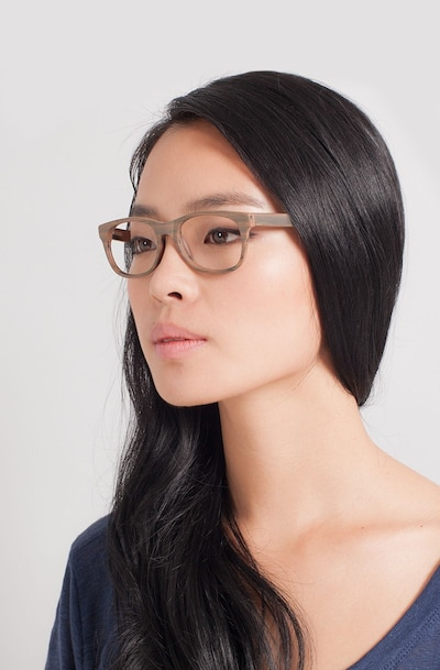 Panama Brown/Striped Acetate Eyeglass Frames for Women from EyeBuyDirect