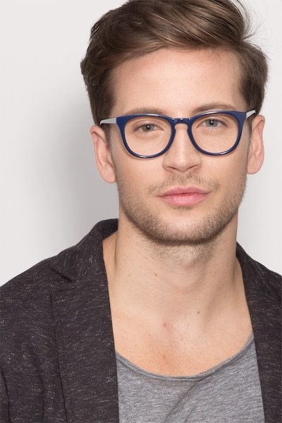 Providence Navy Acetate Eyeglass Frames for Men from EyeBuyDirect