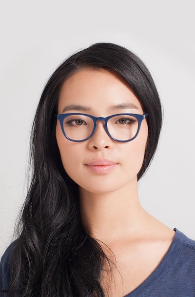 Providence Navy Acetate Eyeglass Frames for Women from EyeBuyDirect, Front View
