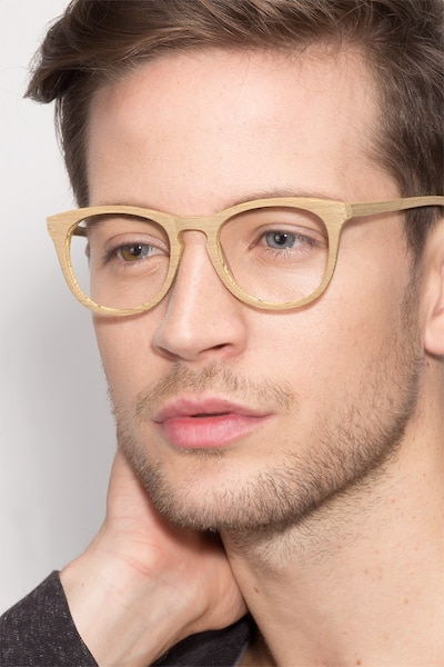 Providence Yellow Wood-texture Eyeglass Frames for Men from EyeBuyDirect