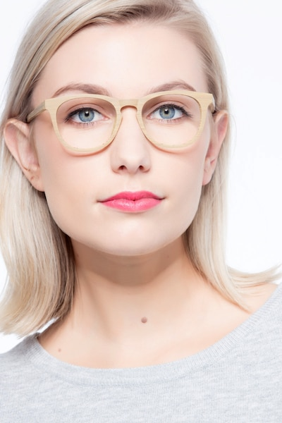 Providence Yellow Wood-texture Eyeglass Frames for Women from EyeBuyDirect, Front View