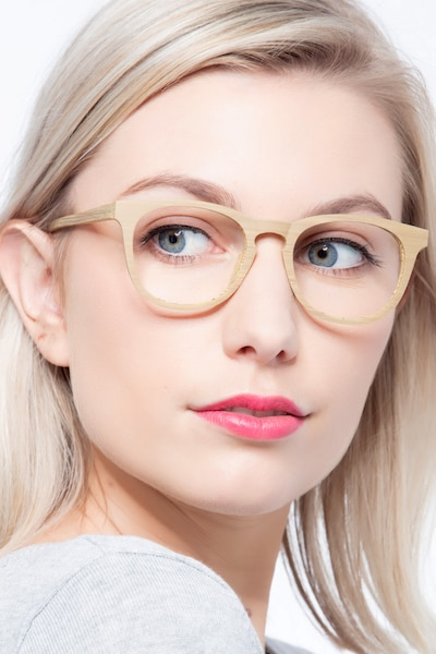 Providence Yellow Wood-texture Eyeglass Frames for Women from EyeBuyDirect
