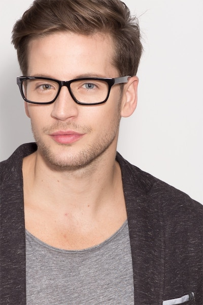 Seattle Black Acetate Eyeglass Frames for Men from EyeBuyDirect, Front View