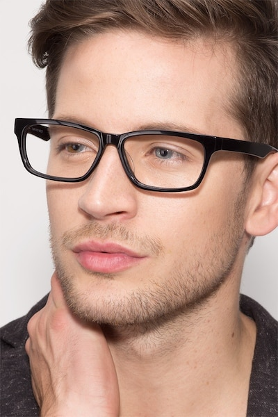 Seattle Black Acetate Eyeglass Frames for Men from EyeBuyDirect
