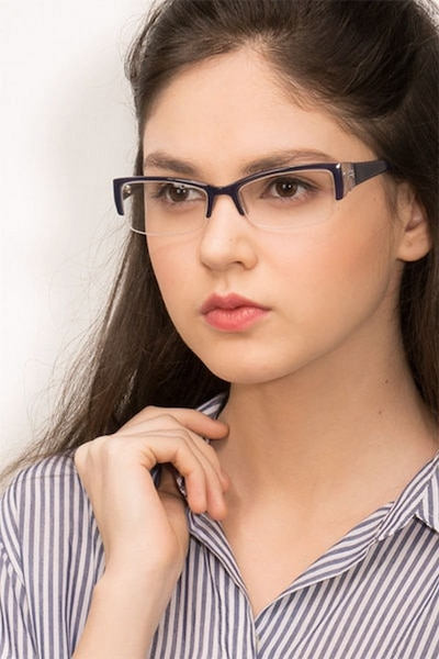 Diane Navy Plastic Eyeglass Frames for Women from EyeBuyDirect, Front View
