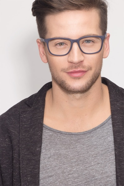 Bristol Matte Navy Acetate Eyeglass Frames for Men from EyeBuyDirect