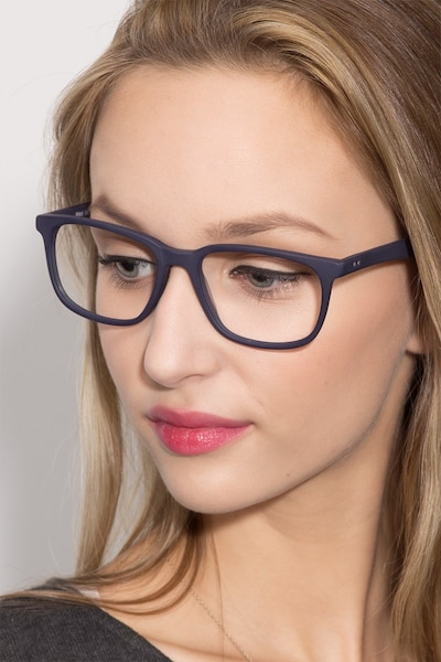 Bristol Matte Navy Acetate Eyeglass Frames for Women from EyeBuyDirect