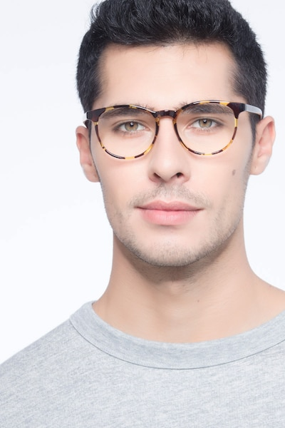Chilling Tortoise Plastic Eyeglass Frames for Men from EyeBuyDirect, Front View