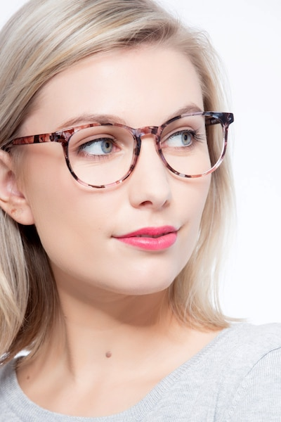 Chilling Pink/Floral Plastic Eyeglass Frames for Women from EyeBuyDirect, Front View