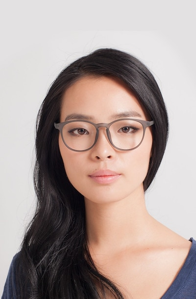 Chilling Matte Gray Plastic Eyeglass Frames for Women from EyeBuyDirect, Front View