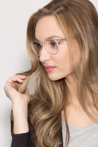 Hepburn Clear/White Acetate Eyeglass Frames for Women from EyeBuyDirect, Front View