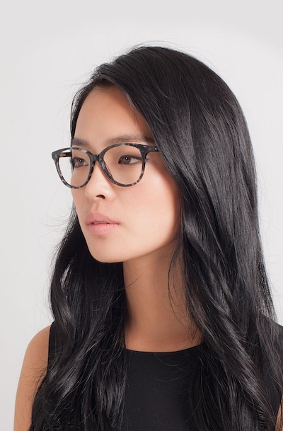 Hepburn Gray/Floral Acetate Eyeglass Frames for Women from EyeBuyDirect