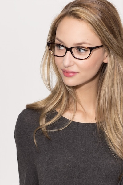 Maya Tortoise Acetate Eyeglass Frames for Women from EyeBuyDirect, Front View