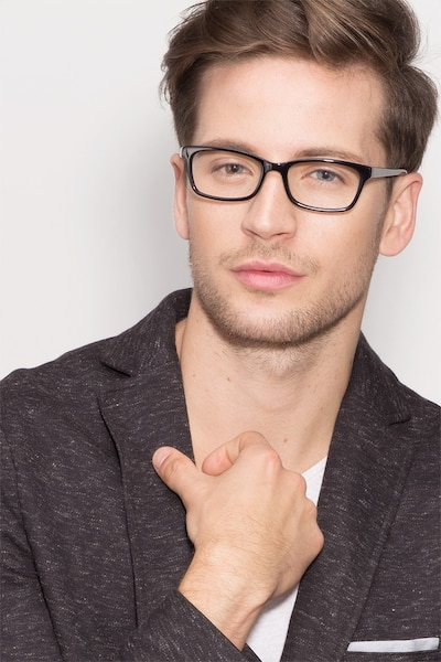 Mesquite Black Acetate Eyeglass Frames for Men from EyeBuyDirect, Front View