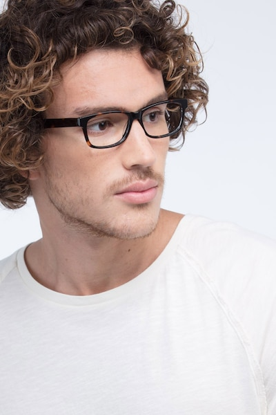 Kyle Brown/Tortoise Acetate Eyeglass Frames for Men from EyeBuyDirect, Front View