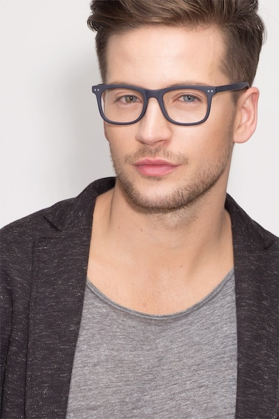 Montreal Matte Navy Acetate Eyeglass Frames for Men from EyeBuyDirect, Front View