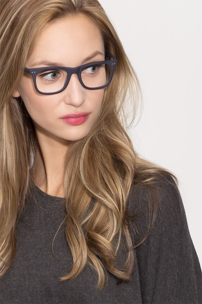 Montreal Matte Navy Acetate Eyeglass Frames for Women from EyeBuyDirect, Front View