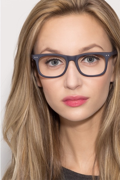 Montreal Matte Navy Acetate Eyeglass Frames for Women from EyeBuyDirect