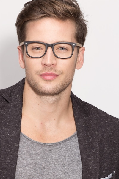 Montreal Matte Black Wood-texture Eyeglass Frames for Men from EyeBuyDirect, Front View
