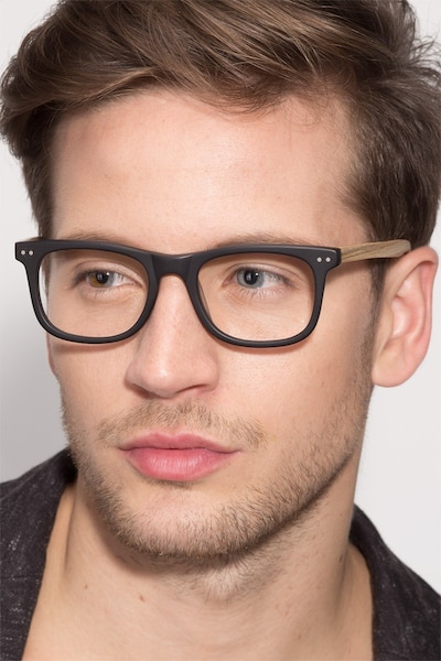 Montreal Matte Black Wood-texture Eyeglass Frames for Men from EyeBuyDirect