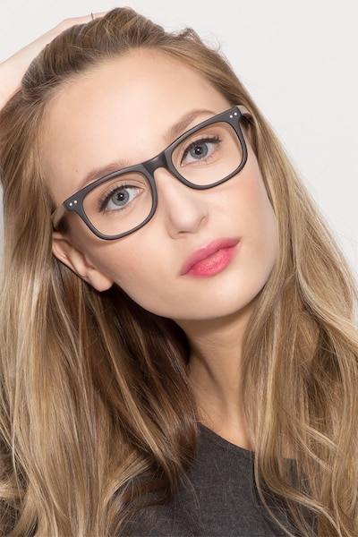 Montreal Matte Black Acetate Eyeglass Frames for Women from EyeBuyDirect, Front View