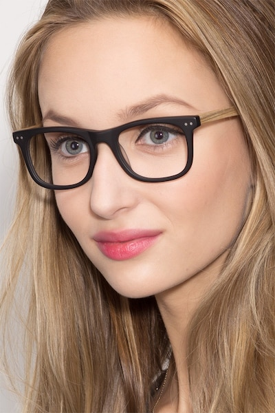 Montreal Matte Black Wood-texture Eyeglass Frames for Women from EyeBuyDirect