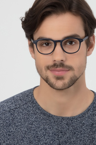 Instant Crush Matte Navy Plastic Eyeglass Frames for Men from EyeBuyDirect, Front View