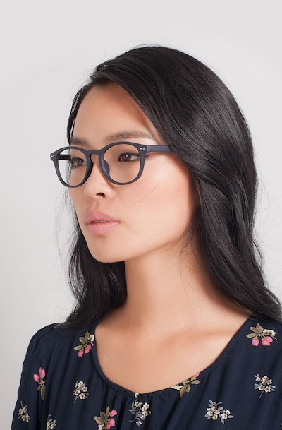 Instant Crush Matte Navy Plastic Eyeglass Frames for Women from EyeBuyDirect