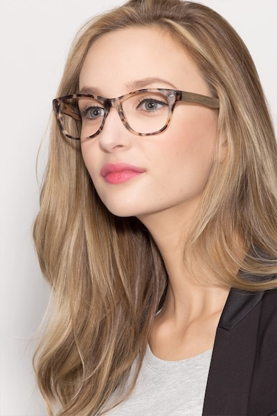 Amber Ivory/Tortoise Acetate Eyeglass Frames for Women from EyeBuyDirect, Front View