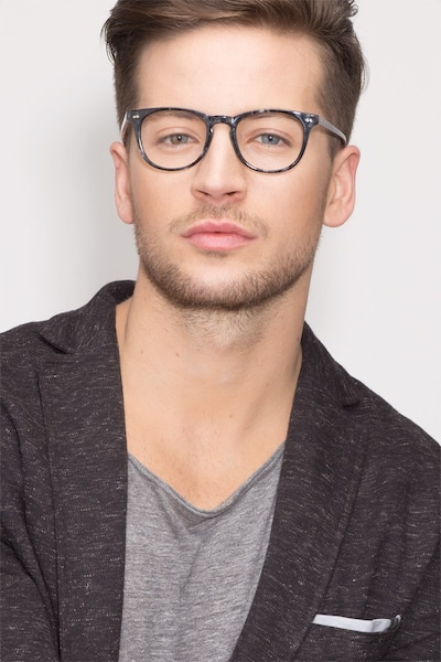Flume Gray/Floral Acetate Eyeglass Frames for Men from EyeBuyDirect, Front View