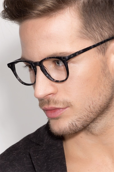 Flume Gray/Floral Acetate Eyeglass Frames for Men from EyeBuyDirect