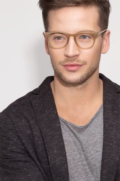 Flume Taupe Acetate Eyeglass Frames for Men from EyeBuyDirect, Front View