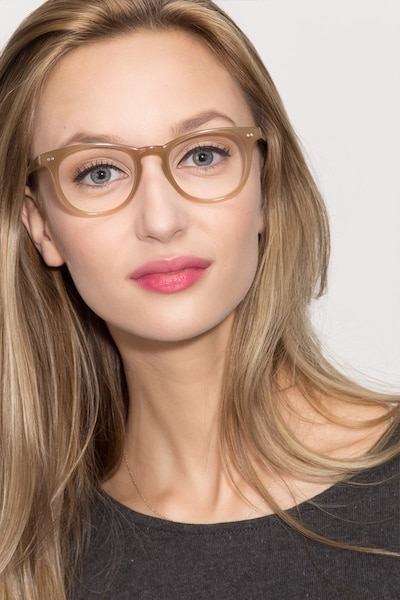 Flume Taupe Acetate Eyeglass Frames for Women from EyeBuyDirect, Front View