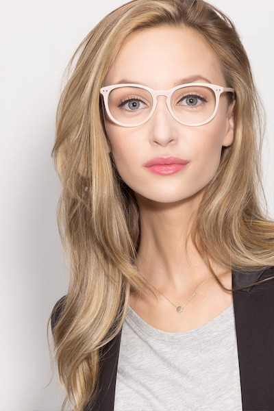 Fiction Pink Acetate Eyeglass Frames for Women from EyeBuyDirect, Front View